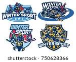 set on winter games badge design | Shutterstock .eps vector #750628366