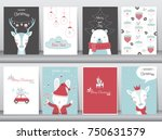 set of cute merry christmas ... | Shutterstock .eps vector #750631579