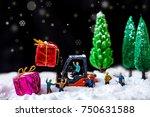 miniature worker passenger gift ... | Shutterstock . vector #750631588