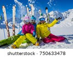 happy family enjoying winter... | Shutterstock . vector #750633478