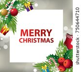 merry christmas background... | Shutterstock .eps vector #750644710