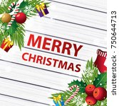 merry christmas on wood... | Shutterstock .eps vector #750644713