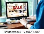 woman hands typing laptop...   Shutterstock . vector #750647200