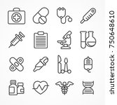 medical line icons on white... | Shutterstock .eps vector #750648610