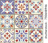 collection of 9 ceramic tiles... | Shutterstock .eps vector #750648946