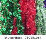 plastic garland ribbon .... | Shutterstock . vector #750651064