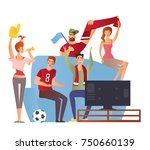 group of sport fans with... | Shutterstock .eps vector #750660139