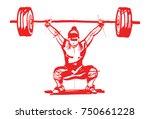 girl weightlifter push the bar | Shutterstock .eps vector #750661228