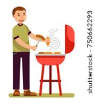 man is cooking barbecue on... | Shutterstock .eps vector #750662293