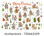 collection of cute funny... | Shutterstock .eps vector #750663109