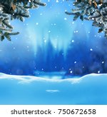 christmas background with fir... | Shutterstock . vector #750672658
