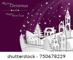 landscape the winter night city ... | Shutterstock .eps vector #750678229