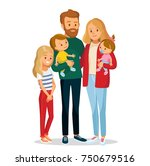 young family portrait of 5 five ... | Shutterstock .eps vector #750679516