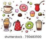 vector hand drawn coffee and... | Shutterstock .eps vector #750683500