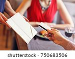 picture showing people paying... | Shutterstock . vector #750683506