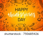 greeting card with pumpkins ... | Shutterstock .eps vector #750685426