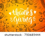 greeting card with pumpkins ... | Shutterstock .eps vector #750685444