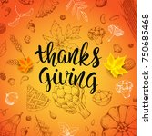 thanksgiving day card with... | Shutterstock .eps vector #750685468