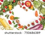 an overhead photo of fresh... | Shutterstock . vector #750686389