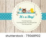 Stock vector baby boy arrival announcement card 75068902