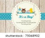 Stock vector baby boy arrival announcement card 75068902