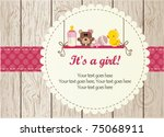 baby girl arrival announcement... | Shutterstock .eps vector #75068911