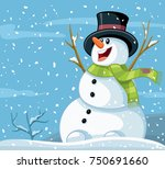 happy snowman winter vector... | Shutterstock .eps vector #750691660