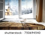 wooden table with free space... | Shutterstock . vector #750694540