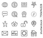 thin line icon set   globe ... | Shutterstock .eps vector #750696328
