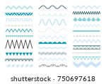 set of seamless zig zag and... | Shutterstock .eps vector #750697618