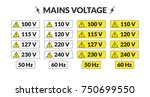 set of worldwide mains voltage... | Shutterstock .eps vector #750699550