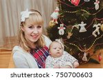 portrait of happy mother and... | Shutterstock . vector #750700603