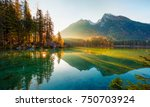 wonderful autumn sunrise of... | Shutterstock . vector #750703924