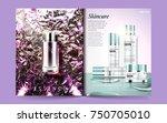 cosmetic magazine template ... | Shutterstock .eps vector #750705010
