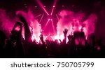 happy people dance in nightclub ... | Shutterstock . vector #750705799