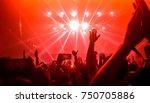 happy people dance in nightclub ... | Shutterstock . vector #750705886