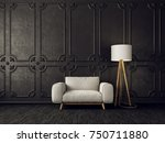 black  living room  with white  ... | Shutterstock . vector #750711880