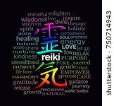 reiki words of wisdom   a... | Shutterstock . vector #750714943