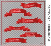 realistic red paper banners set.... | Shutterstock .eps vector #750721780
