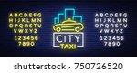 city taxi neon logos concept... | Shutterstock .eps vector #750726520