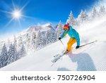 skier skiing downhill in high... | Shutterstock . vector #750726904