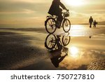 people cycling on the promenade ... | Shutterstock . vector #750727810