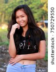 pretty young filipino looking... | Shutterstock . vector #750729550