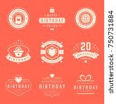 happy birthday badges and... | Shutterstock .eps vector #750731884