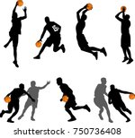 basketball players silhouettes... | Shutterstock .eps vector #750736408