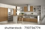modern wooden kitchen with... | Shutterstock . vector #750736774