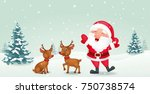 happy santa with reindeer  | Shutterstock . vector #750738574