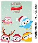 christmas background with owl  | Shutterstock .eps vector #750738580