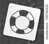 lifebuoy doodle | Shutterstock .eps vector #750740323