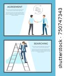 agreement and searching set of... | Shutterstock .eps vector #750747343